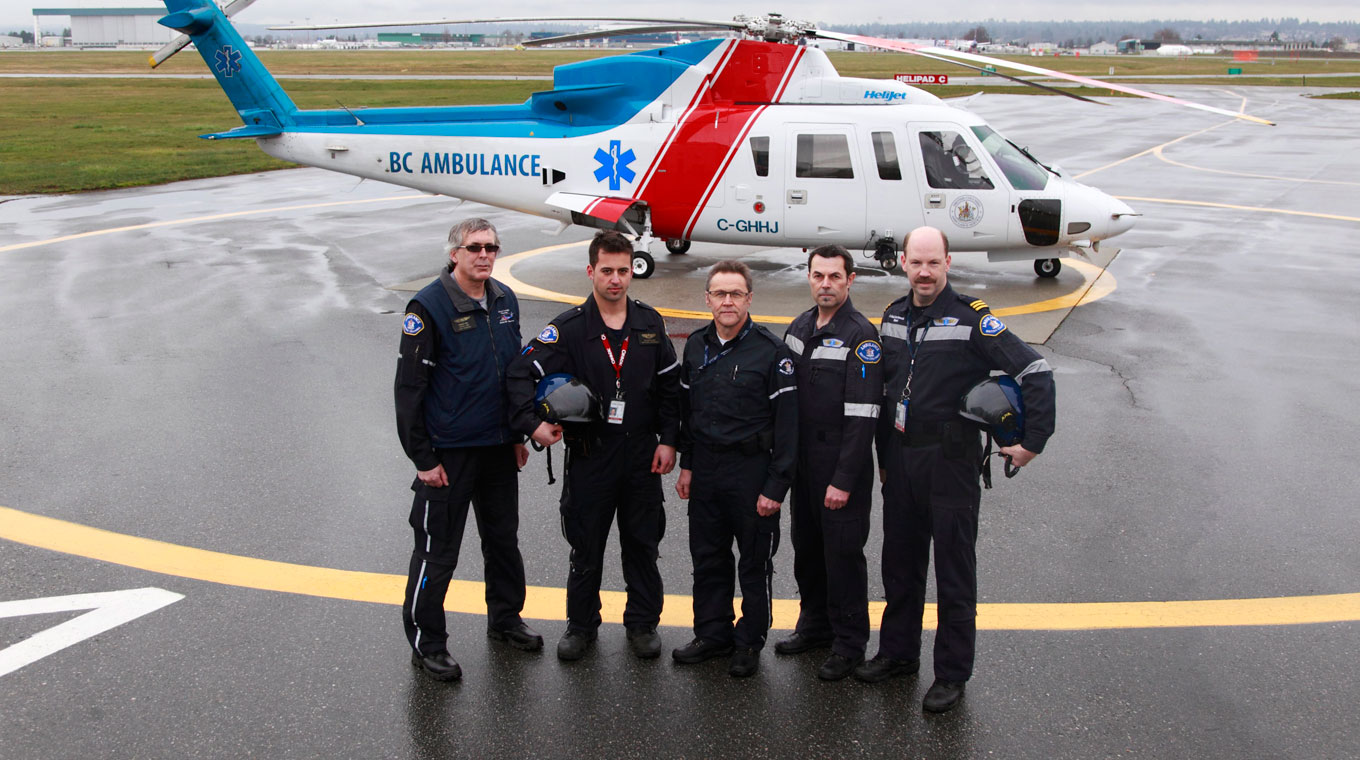 Group of paramedics in front of helicopter