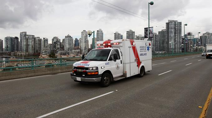 Ground ambulance driving code 3 in Vancouver