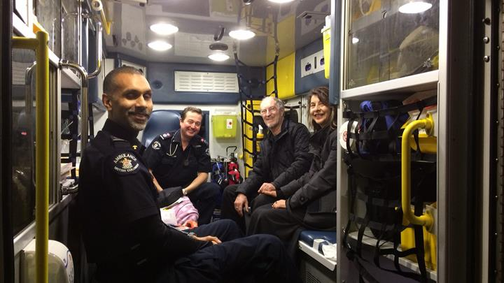 Patient meets paramedics who rescued him
